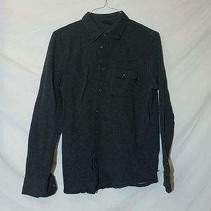 OAKLEY Charcoal Gray Knit Button Down Shirt, Small
